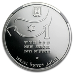 2011 Israel Gymnastics Proof Silver 1 NIS Coin MS-69 NGC