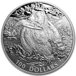 2014 1 oz Silver Canadian $100 - The Grizzly Bear
