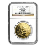 1991 1 oz Gold Chinese Panda MS-67 NGC - Small Date