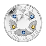 2013 1 oz Silver Canadian $20 Swarovski Crystal Holiday Wreath