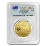 2014 1 oz Gold Lunar Year of the Horse (SII) PCGS MS-70 (FS)