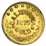1875 Arms of California Fractional Gold Token Almost Uncirculated