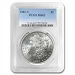 Morgan Dollar - 5 Coin Mintmark Set - MS-62 PCGS
