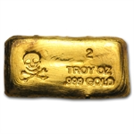 2 oz Skull & Bones Gold Bar .999 Fine