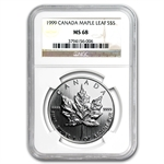 1999 1 oz Silver Canadian Maple Leaf MS-68 NGC