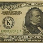 1934 (K-Dallas) $1,000 Federal Reserve Note (AU)