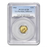 1903 $1.00 Gold Louisiana Purchase - Jefferson AU-58 PCGS