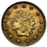 1856 Indian Round California Gold Token AU Rim Damage