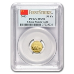 2013 (1/10 oz) Gold Chinese Panda - MS-70 PCGS First Strike
