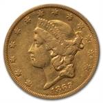 1863-S $20 Gold Liberty Double Eagle - VF-35 PCGS