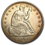 1849 Liberty Seated Dollar - Almost Uncirculated