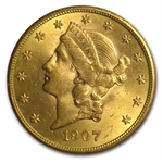 1907 $20 Gold Liberty Double Eagle - MS-63 PCGS CAC