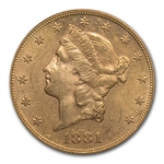 1881-S $20 Gold Liberty Double Eagle - MS-62 PCGS