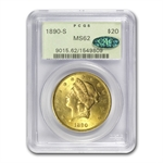 1890-S $20 Gold Liberty Double Eagle - MS-62 PCGS CAC