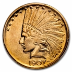 1907 $10 Indian Gold Eagle - No Motto - AU-55 PCGS