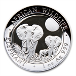2014 1 oz Silver Somalian African Elephant (High Relief)