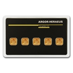 5x 1 gram Argor-Heraeus Gold Bars .9999 Fine (In Assay)