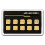 10x 1 gram Argor-Heraeus Gold Bars .9999 Fine (In Assay)