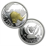 Congo 2013 Silver Proof The Big Five - Rhinoceros 4-Coin Set