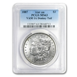 1887 Morgan Dollar MS-63 PCGS VAM-1A Donkey Tail Top-100
