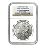 1921 Morgan Dollar AU-55 NGC Obverse Struck Thru Mint Error