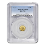 1875 BG-783 Indian Octagonal 25 Cent Gold MS-65 PCGS