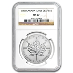1988 1 oz Silver Canadian Maple Leaf MS-67 NGC