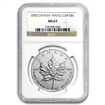 2002 1 oz Silver Canadian Maple Leaf MS-67 NGC