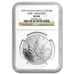 1999/2000 1 oz Silver Canadian Maple Leaf (Millennium) MS-68 NGC