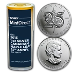 2013 1oz Silver Maple Leaf 25th Ann 25-Coin MintDirect®Tube