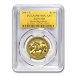 2014 1 oz Ultra High Relief Proof Gold Horse PR-70 DCAM PCGS