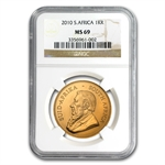 2010 1 oz Gold South African Krugerrand MS-69 NGC