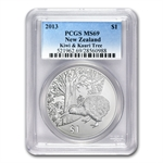 2013 1 oz Silver New Zealand Treasures $1 Kiwi Coin PCGS MS69