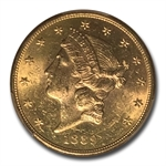 1889-S $20 Gold Liberty Double Eagle - MS-61 PCGS
