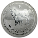 2009 10 oz Silver Australian Year of the Ox Coin (Spots) ( SII)
