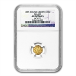 1855 BG-432 Liberty Round 50 Cent Gold AU Details - Holed NGC