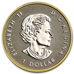 2014 1/10 oz Silver Canadian $1 Maple Leaf Gilded