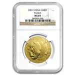 2001 1 oz Gold Chinese Panda MS-69 NGC