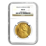 Vatican City 1936 100 Lire Gold (Pius XI) MS-64 NGC