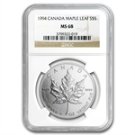 1994 1 oz Silver Canadian Maple Leaf MS-68 NGC