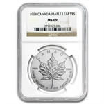1994 1 oz Silver Canadian Maple Leaf MS-69 NGC