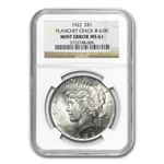 1922 Peace Dollar NGC MS-61 Cracked Planchet Mint Error