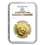 2003 (1/10 oz) Gold Chinese Pandas - MS-70 NGC