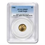 1986-2013 1/10 oz Gold American Eagle Set PCGS MS-69