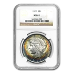 1922 Peace Dollar MS-61 NGC Beautiful Obverse Toning