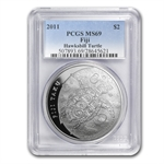 2011 1 oz Silver New Zealand Mint $2 Fiji Taku .999 MS-69 PCGS