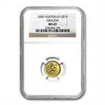 2000 1/10 oz Gold Year of the Dragon Lunar Coin (SI) MS-69 NGC