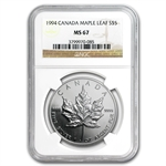 1994 1 oz Silver Canadian Maple Leaf MS-67 NGC