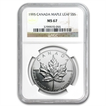 1995 1 oz Silver Canadian Maple Leaf MS-67 NGC