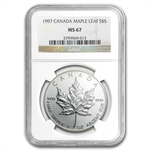 1997 1 oz Silver Canadian Maple Leaf MS-67 NGC